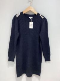 trui-jurk met zilveren knopen zwart