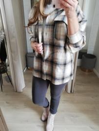 blousejas met ruitjes zwart/beige