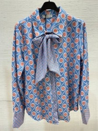 hemd met strik ronde print blauw