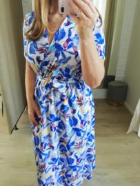 overslag jurk mooie print blauw