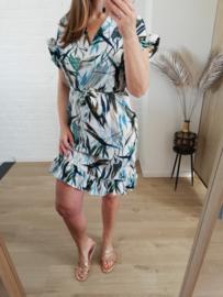 overslag jurk tropische print ecru