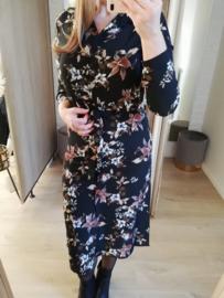 midi-jurk bloemenmotief zwart