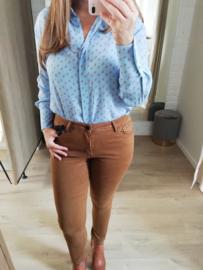 blauw hemd met dierenprint