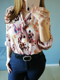 blouse strik vlinder roze
