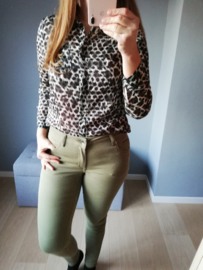 hemd met luipaardprint zwart/kaki