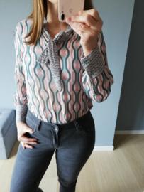 blouse strik patroon groen/roze