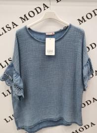 ruime tetra blouse jeansblauw