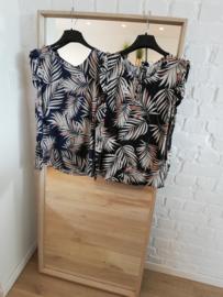 blouse met volants palmprint katoen zwart