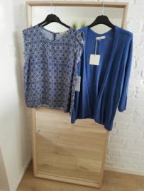 blouse met geometrische print diepblauw