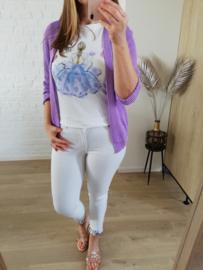 licht giletje met halflange mouwen lila