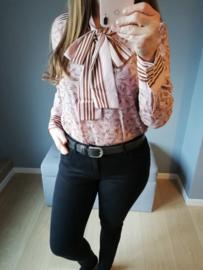 blouse met strik en motief roze