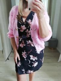 ajour cardigan roze