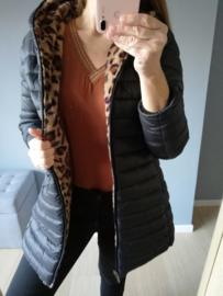 omkeerbare jas zwart/luipaardprint