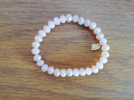 armband met hangertje beige/kristal
