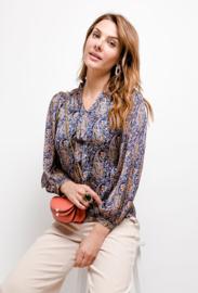 hemd met strikje paisley blauw