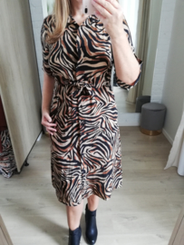 midi-jurk zebra mokka