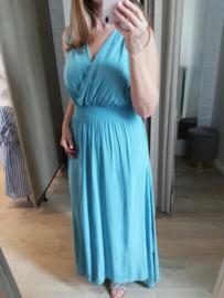 maxi-jurk viscose turquoise (tailleert ruimer)