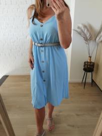 midi-jurk met lijstjes lichtblauw (ruime maatjes)