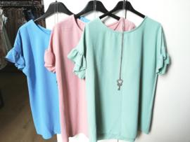 losse blousetop met sleutelketting blauw / roze / munt