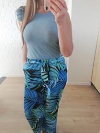 lurex topje met volantmouwtjes lichtblauw