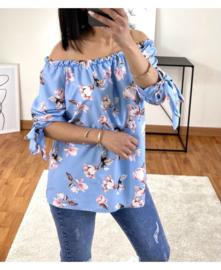 blouse bloemen satijn blauw