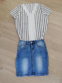 stretch jeans rok met strass jeans