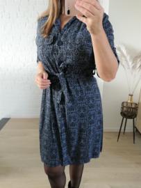 jurk stipjes katoen blauw