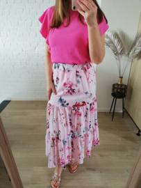 rok met bloemetjes roze