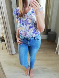 blouse met lila en gele print