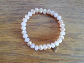armband met hangertje beige-wit/kristal