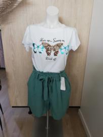 T-shirt vlinder turquoise