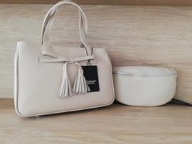 handtas met strikje uit kwalitatief leder beige