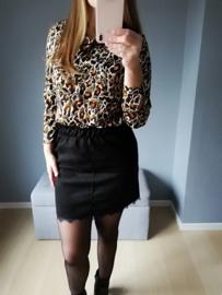 hemd met luipaardprint kaki/oranje