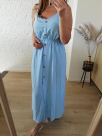 maxi-jurk met lijstjes lichtblauw (ruime maatjes)