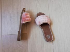 slippers flosjes en parels roze