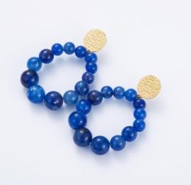 oorrint met parels kobaltblauw