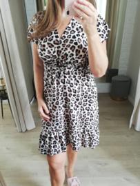 gladde jurk met beige luipaardprint