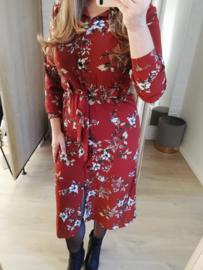 midi-jurk bloemenmotief roest