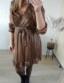 overslag jurk met fijne lurex