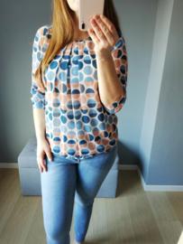 blouse met bolletjes lichtblauw/oranje