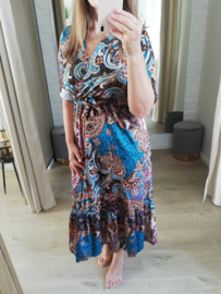 jurk met paisleyprint oceaanblauw