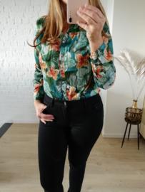 hemd met tropische print smaragdgroen