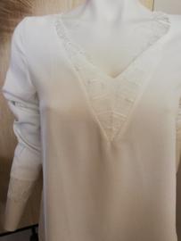 blouse crêpe kant wit