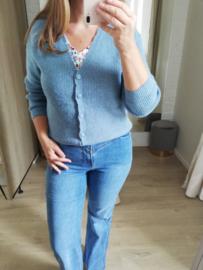 cardigan met V-hals en mooie knopen jeansblauw