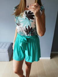 blouse met mouwtjes turquoise palmprint