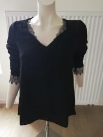 blouse crêpe kant zwart