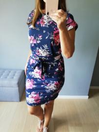 jurk met striklint en bloemenprint roze/wit/donkerblauw