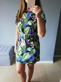 losse jurk met bindtouwtje palmprint zwart
