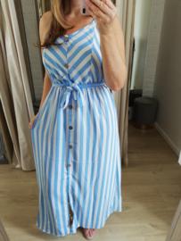 zomerjurk streepjes lichtblauw (tailleert ruim)