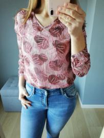 blouse blaadjesprint roze